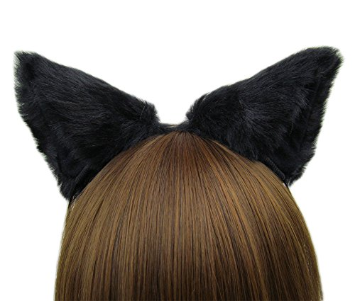 (Women cat ear Headband Halloween Cute Party Anime Cosplay Costume Kitty Cat Ears Black)