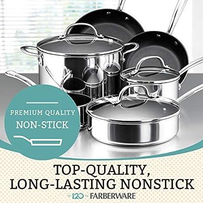 Stainless Steel Farberware Millennium Stainless Steel Nonstick Cookware Set 10-Piece Pot and Pan Set