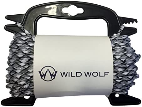 Wild Wolf Pack 100 Feet of Paracord On Winder for Tangle-Free 550 Lb Parachute Survival Craft Cord