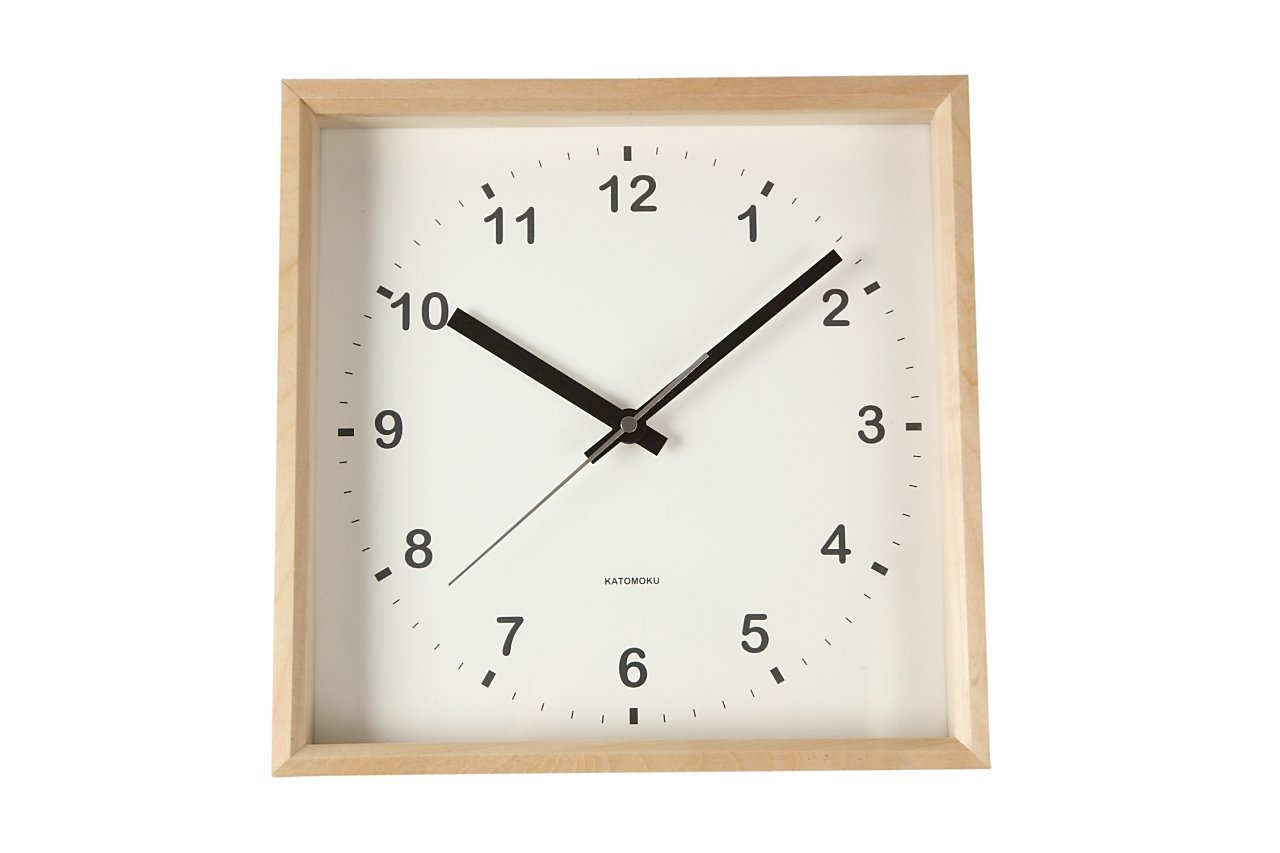 KATOMOKU muku square clock km-37N 木 バスウッド 連続秒針 B00YTGALZ0