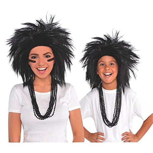 AMSCAN Black Crazy Wig Halloween Costume Accessories, Black, One Size