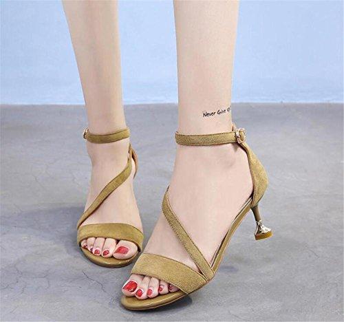 YEEY Las mujeres de verano sandalias de gamuza abierta tobillo hebilla de tacón alto zapatos de trabajo fuera Khaki