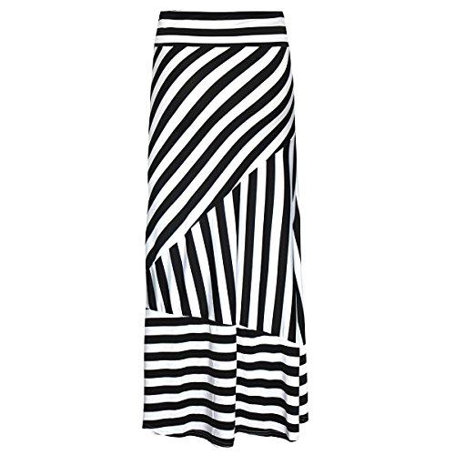 Women Black & White Stripes Maxi Long Skirt High Waist Straight Full Skirt Summer Skirts for Daily Shopping Evening Party Beach Travel Black+White L