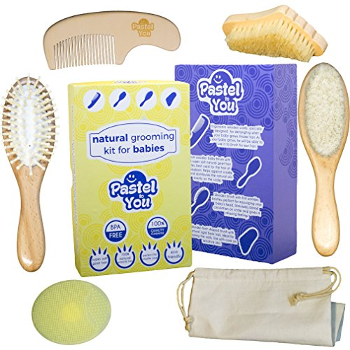 6 Piece Gentle Natural Wood Hair & Nails Brushing Set -Baby Grooming Kit - Nail Cleaning, detangling, Massage & Goat Hair Brush, Bath Brush, Comb, Cradle Cap Solution + Cotton Storage Bag from Pastel to You