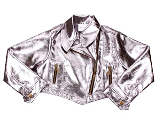 Ooh La La Couture Little Girls Silver Metallic Pleather Bolero Cropped Jacket (Couture Leather Jackets)