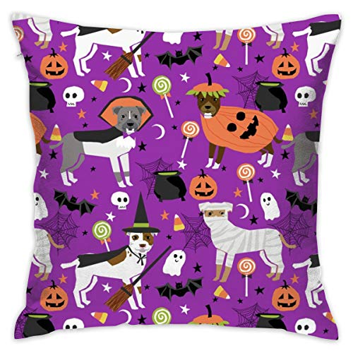 oktopstore Pitbull Halloween Costume Dog Fabric Throw Pillow Covers Soft Particles Cotton Linen Cushion Covers 18 X 18 inch for Couch Bedroom -