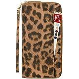 Womens Passport Wallet Travel RFID Passport Holder for Women Clutch Wristlet Id (Leopard)