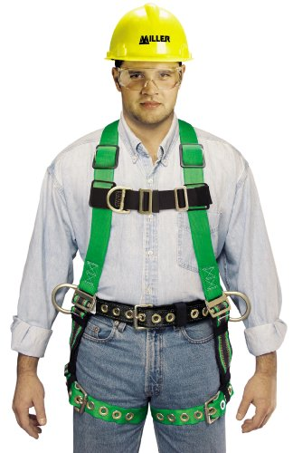 Miller by Honeywell P950FDQC-7D/XXXLBL DuraFlex Python Full-Body Ultra Harnesses with Tubular Webbing, Front/Side D-Rings, XXX-Large, Blue