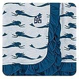 KicKee Pants Little Girls Print Ruffle Stroller Blanket Natural Mermaid, One Size