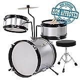 Koval Inc. Kids Drum Set, 3 Piece Junior Drum Set Kit (Silver)