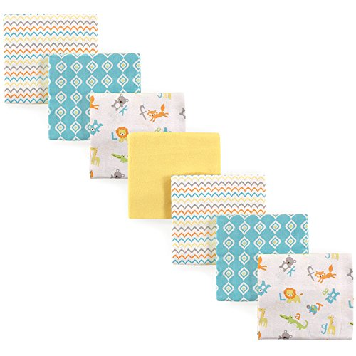(Luvable Friends Unisex Baby Flannel Receiving Blankets 7-Pack, ABC, One Size)