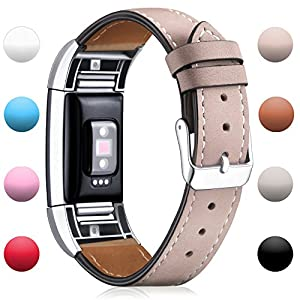 Hotodeal Fitbit Charge 2 Replacement Bands , Classic Genuine Leather Wristband With Metal Connectors , Charge 2 Fitness Strap ,Beige
