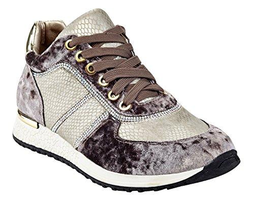 Henry Ferrera Da Donna Coop In Velluto Con Allacciatura Alla Moda Sneaker Taupe