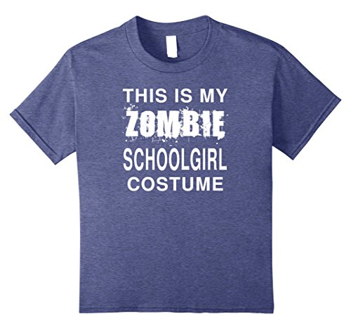 School Girl Halloween Costumes Amazon (Kids This Is My Zombie Schoolgirl Costume Funny Halloween T-Shirt 8 Heather Blue)