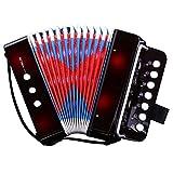 CAHAYA Accordion 7 Keys 2 Bass Button Educational Musical Instrument Rhythm Band for Children (Black)