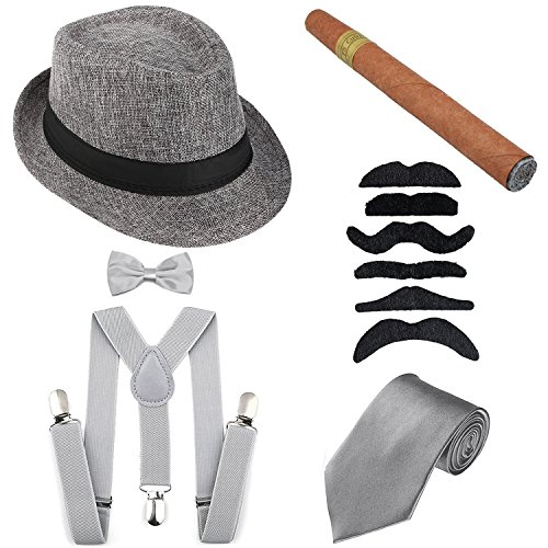 1920s Mens Accessories Hard Felt Panama Hat, Y-Back Suspenders & Pre Tied Bow Tie, Tie,Toy Cigar & Fake Mustache (OneSize, 1Grey) -