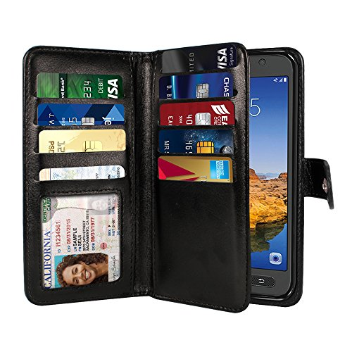 Cell Snap Case Phone (NEXTKIN Galaxy S7 Active Case, Leather Dual Wallet Folio TPU Cover, 2 Large Pockets Double flap Privacy, Multi Card Slots Snap Button Strap For Samsung Galaxy S7 Active G891 - Black)