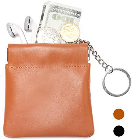 Leathereal Full Grain Leather Squeeze Coin Pouch Coin Purse Change Holder Key Holder Change Wallet with Key Chain,Gift Box