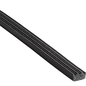 """Trim-Lok Ribbed Rectangle Rubber Seal – .187"""" Height, .375"""" Width, 100' Length – EPDM Foam Rubber Seal with High Tack (HT) – Ideal Door and Window Weather Seal – Garage Doors, Cars, Boats"""