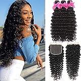 9A Brazilian Deep Wave 3 Bundles Human Hair with 4X4 Free Part Lace Closure Unprocessed Virgin Deep Wave Bundles Hair Natural Color(24 26 28+20,lace closure)