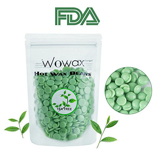 WOWAX Green Hard Wax Beans, 10.5oz/300g Stripless Hair Removal Hot Wax Beads For Body, Lips, Armpits, Eyebrows and Sensitive Skin, Tea Tree