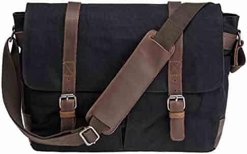 PeacechaosWaterproof Canvas Genuine Crazy-horse Leather Cross Body Laptop Messenger Bag - Men Business Vintage shoulder bag / Briefcase (Black)