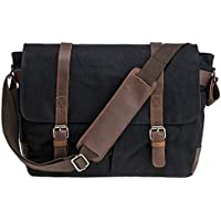 Vintage Waterproof Canvas Leather Trim DSLR SLR Camera Shoulder Messenger Bag(Over Size: 1 x 14laptop + 1 x D/SLR + 1-2 x extra lenses + accessories)