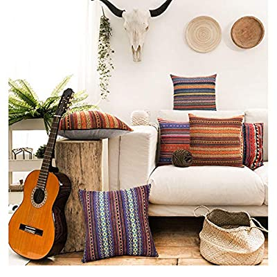 Merrycolor Decorative Throw Pillow Cover for Couch Sofa Bed Bohemian Retro Stripe Cotton Blend Linen Pillow Case(Only Pillow Cover