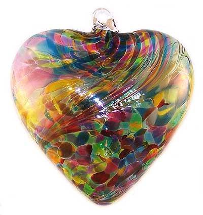 Hand Blown Glass Heart Ornament (Multicolor) - heart shaped glass ornament
