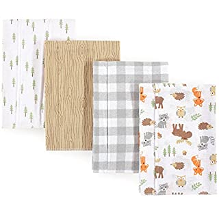 Hudson Baby Unisex Baby Cotton Flannel Burp Cloths, Woodland, One Size