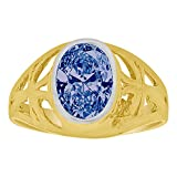 14k Yellow Gold, Small Size Child Ring Adult Pinky Ring Created Cubic Zirconia Crystal Cross Design Blue