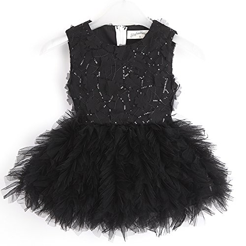 Flofallzique Black Easter Girls Dress Sequined Tulle Tutu Special Occasion Dress for Toddler Girls Clothes(4, Black)