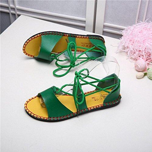 COOLCEPT Mujer Moda Cordones Sandalias Punta Abierta Planos Zapatos Beach Style Verde