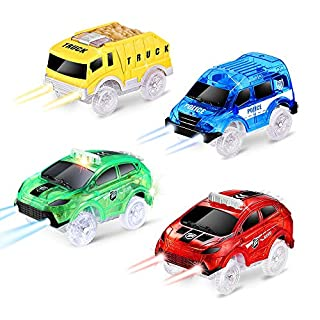 QUOXO 4 Pack Tracks Cars ONLY, Glow in The Dark Racing Car Track Accessories Compatible with Most Car Tracks for Kids Boys and Girls