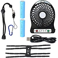 Xcellent Global 4 Inch Vanes Portable Fan USB Handheld Rechargeable Battery Powered Desktop Fan with 3-level Speed Great for Outdoor, Hiking, Fishing, Camping, Picnic, Baby Stroller, BBQ and Indoor, Black HG075B