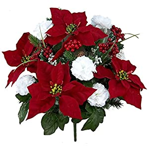 Admired By Nature GPB0707-RD/WT Faux Velvet Poinsettia Carnation Berry X'mas Bush, RD/WT