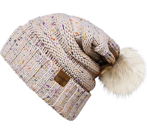 Chalier Womens Winter Confetti CC Style Beanies Knit Stretch Pom Pom Beanie Hat (Ball Hats Knit With Beanie)