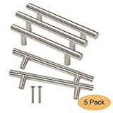 draw pull handle - Gobrico GB201HSS96 Kitchen Cabinet Handles Stainless Steel for Modern Drawer Dresser Pull(Hole Center:96mm ,5 Pack)