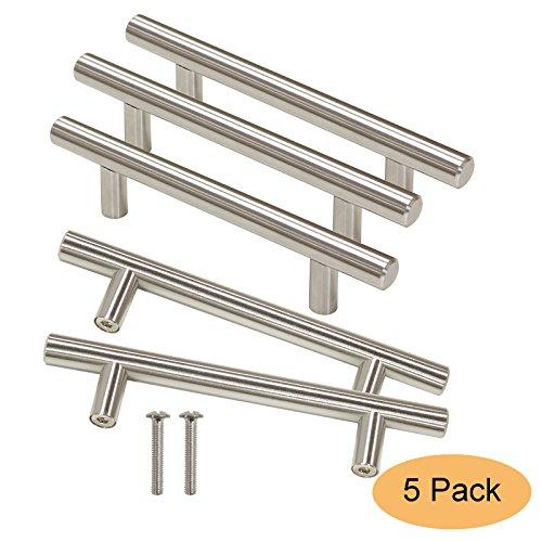 Gobrico GB201HSS96 Kitchen Cabinet Handles Stainless Steel for Modern Drawer Dresser Pull(Hole Center:96mm ,5 Pack)