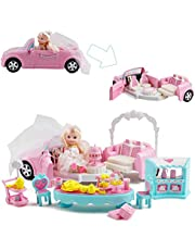 deAO 2-in-1 Transforming 'My Wedding Car' with Happy Wedding Doll, Arch, Banquet Table and 30+ Accessories Included