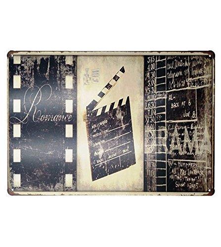 UNiQ Designs DRAMA Cinema Decor Media Room Decor Tin Signs Theater Sign - Movie Room Decor Accessories - Film Decor - Home Movie Theater Decor - Movie Reel Wall Decor ()