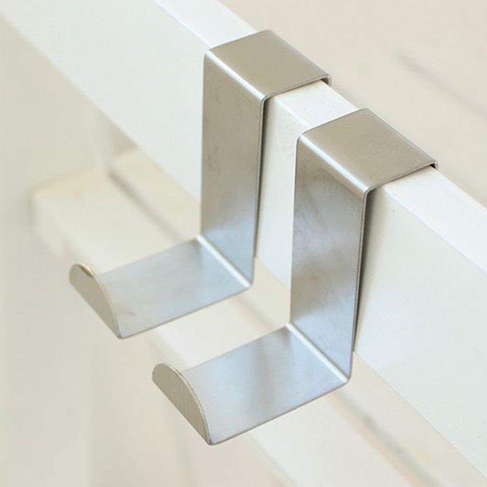 da appendere sopra la porta camera da letto ufficio per cucina 2 pezzi bagno in acciaio inox Ganci da porta porta di armadietti Taglia libera Silver a forma di Z su armadietti e cassetti