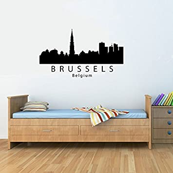 Brussels Belgium city skyline Vinyl Wall Decals Quotes Sayings Words Art  Decor Lettering Vinyl Wall Art