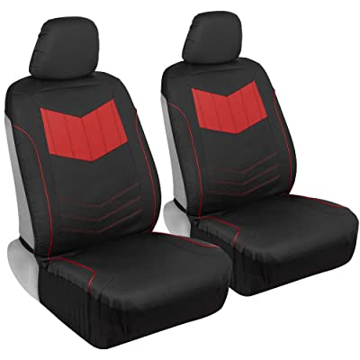 Motor Trend M304 Sport Faux Leather Car Seat Covers, Front – Stylish Two-Tone Design, Easy to Install, Universal Fit for Auto Truck Van and SUV: Automotive
