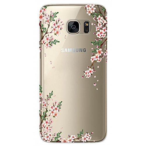 JAHOLAN Cute Girl Floral Design Clear TPU Soft Bumper Slim Flexible Silicone Cover Phone Case for Samsung Galaxy S7 - Cherry - Blossom Cherry Phone