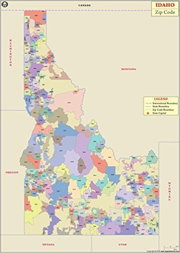 Amazon Com Idaho Zip Code Map 36 W X 50 H Office Products