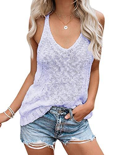 Ybenlow Womens Summer Knit Racerback Tank Tops V Neck Sleeveless Sweater Casual Sheer Vest Shirt Blouses Purple