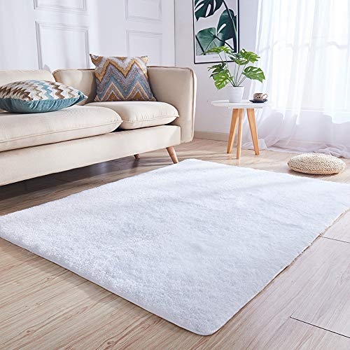 YOH Super Soft Area Rugs Silky Smooth Bedroom Mats for Living Room Kids Room Multicolor Optional Home Decor Carpets (4 x 5.3 Feet, White)
