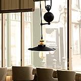 GTM Metal Pendant Lighting Industrial Vintage Adjustable Pendant Lights Fixtures Retractable Lighting Ceiling Lamp Dining Room Lamp For Corridor Hallway Living Room Meeting Room, Black
