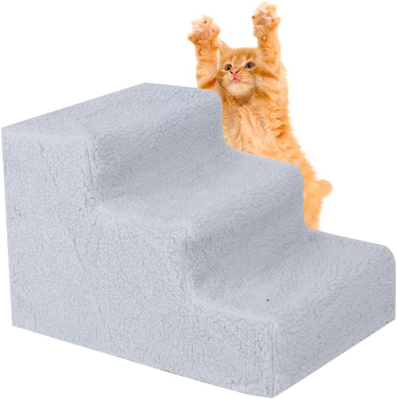 cats 3 steps pet stairs dog stairs with plush cover pet stairs pet stairs 45.5 x 36 x 31 cm. plush step pet stairs dog stairs for dogs AYNEFY pet stairs pet stairs cat stairs